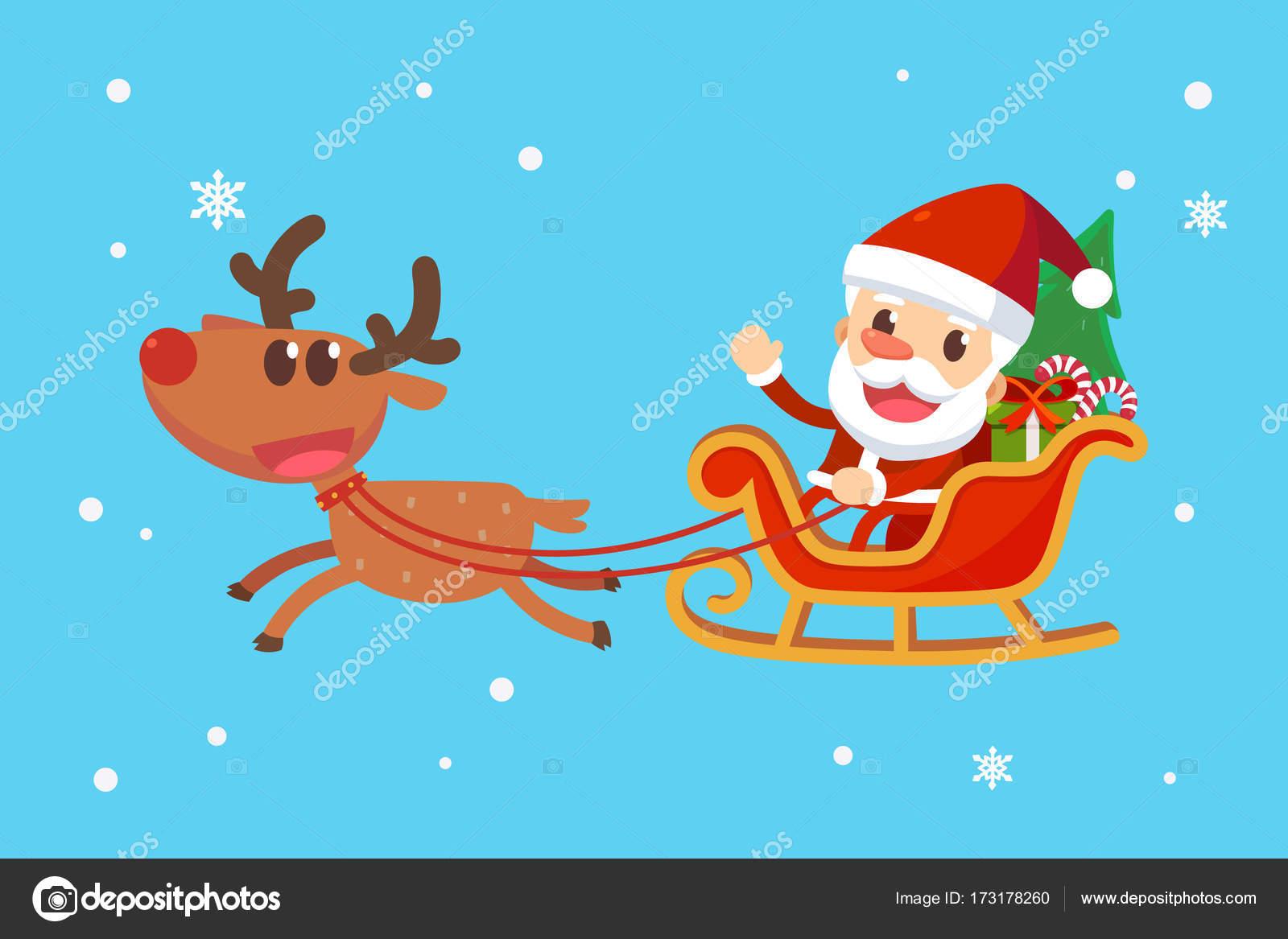 Immagini Babbo Natale Con Slitta.Buon Natale Con Babbo Natale E Gli Amici Babbo Natale Sulla