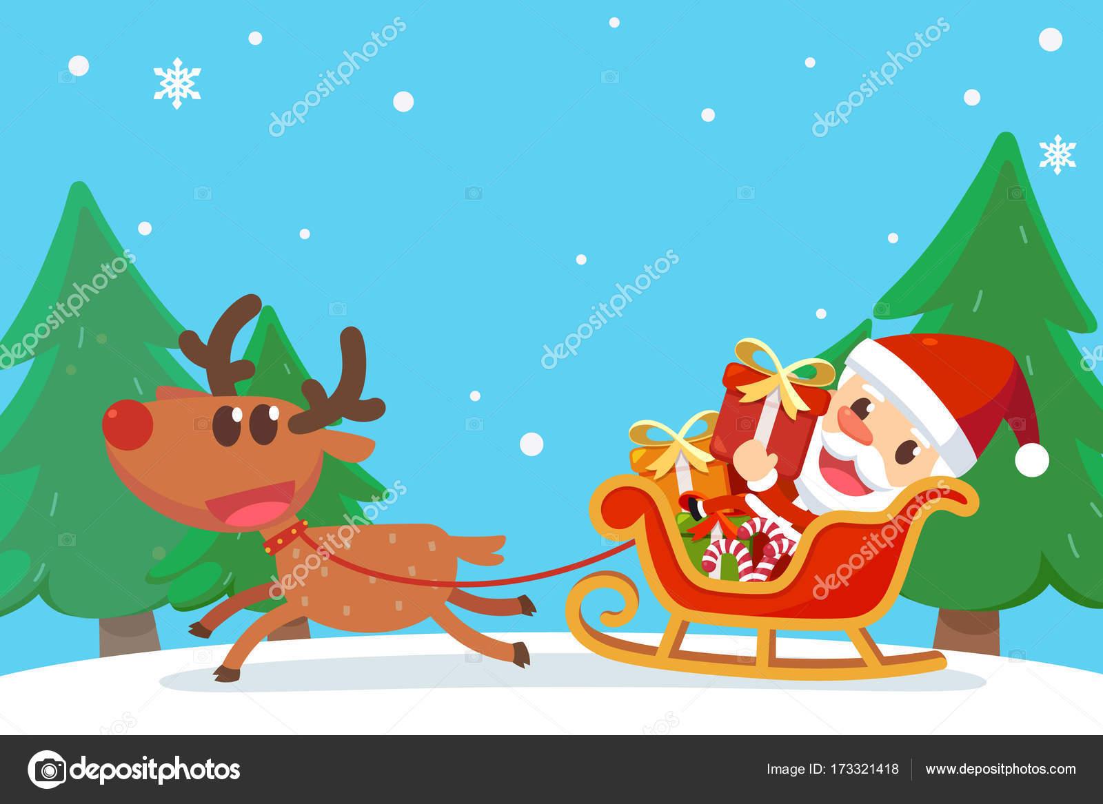 Frohe Weihnachten mit Santa und Freunde. Weihnachtsmann auf ...