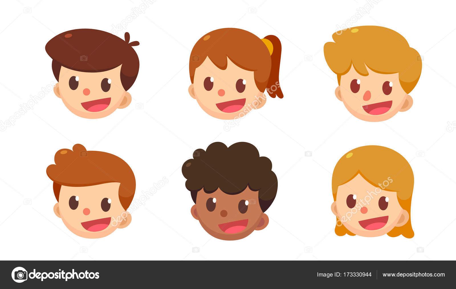 卡通头像集 不同风格的可爱男孩和女孩