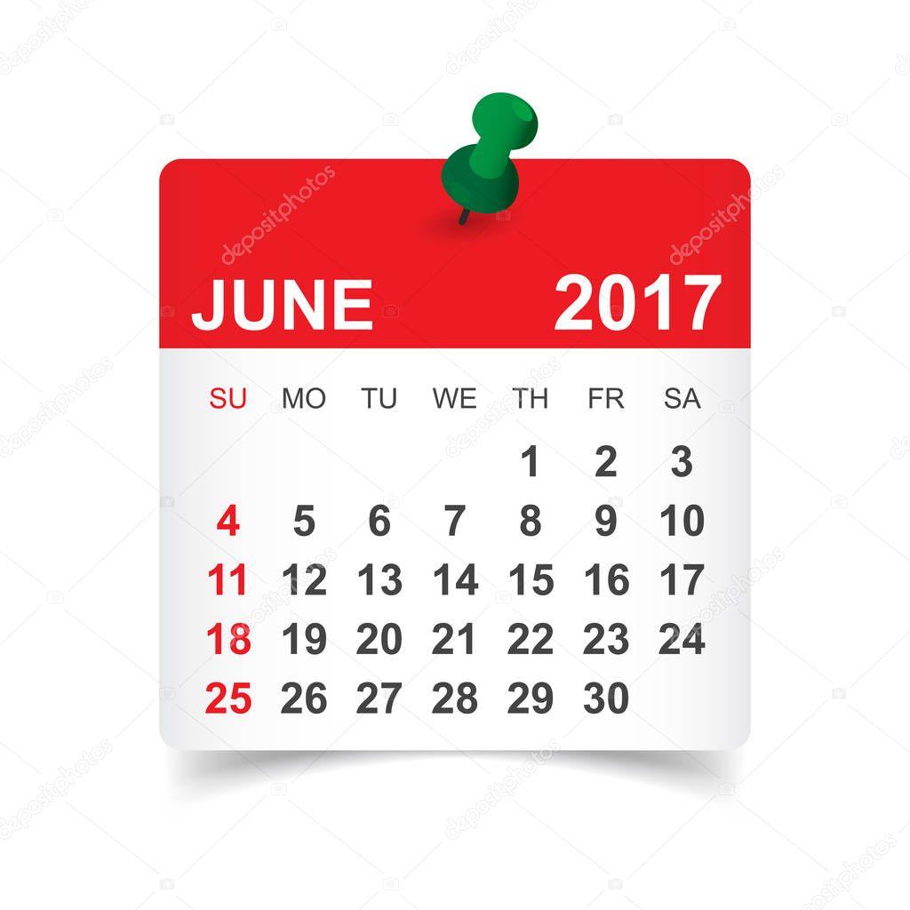 June Calendar Vector : 年 月。カレンダーのベクトル イラスト — ストックベクター sanek