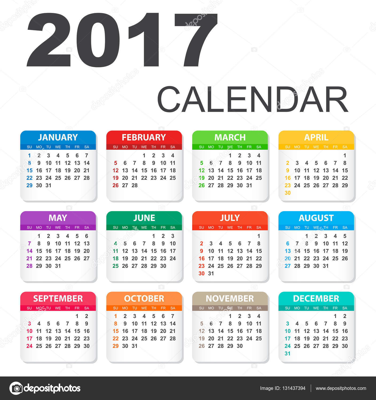 Calendar Method With Illustration : Calendar in horizontal style illustration vector