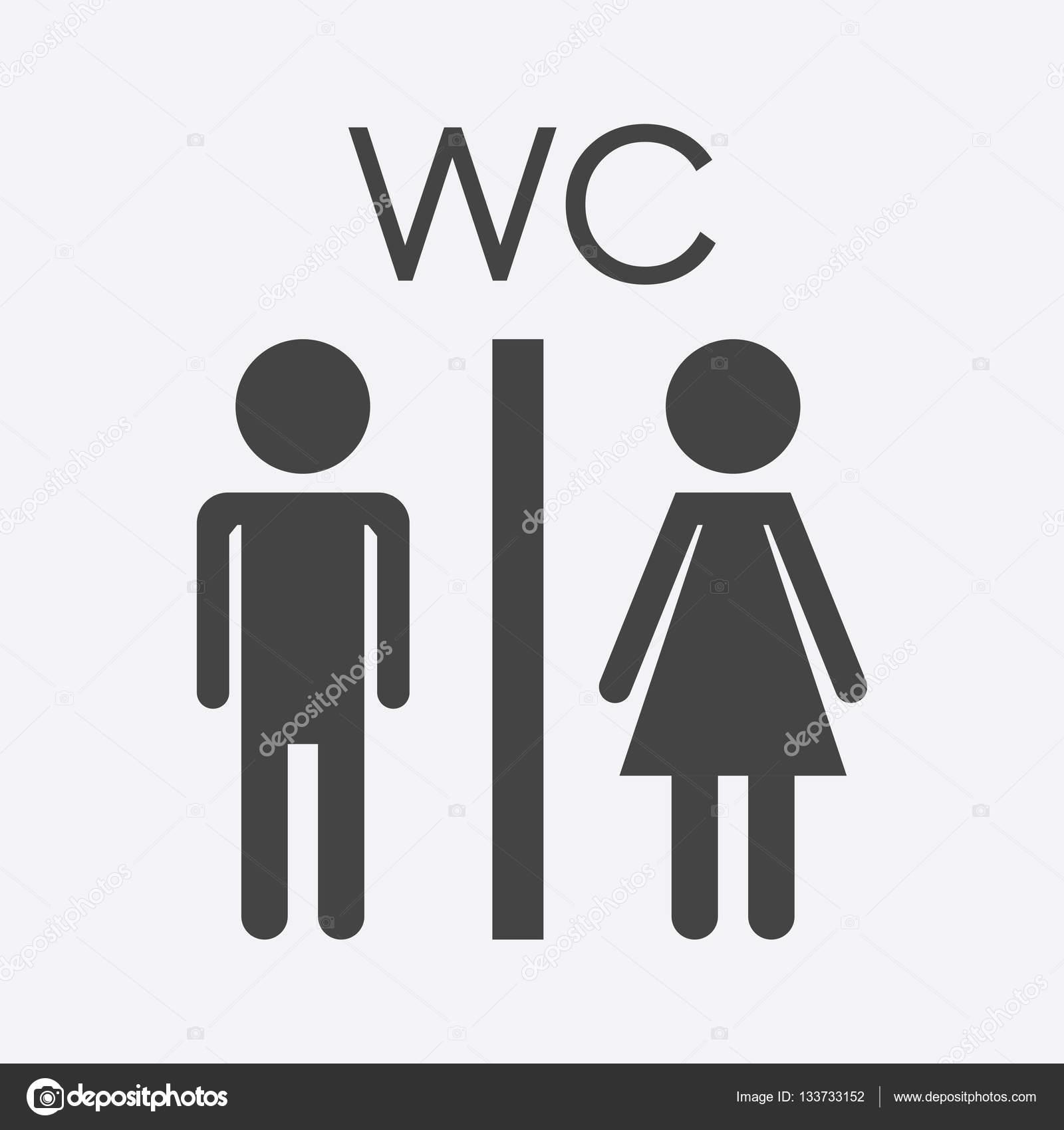 WC vectorial, icono de baño sobre fondo blanco. Pictograma ...