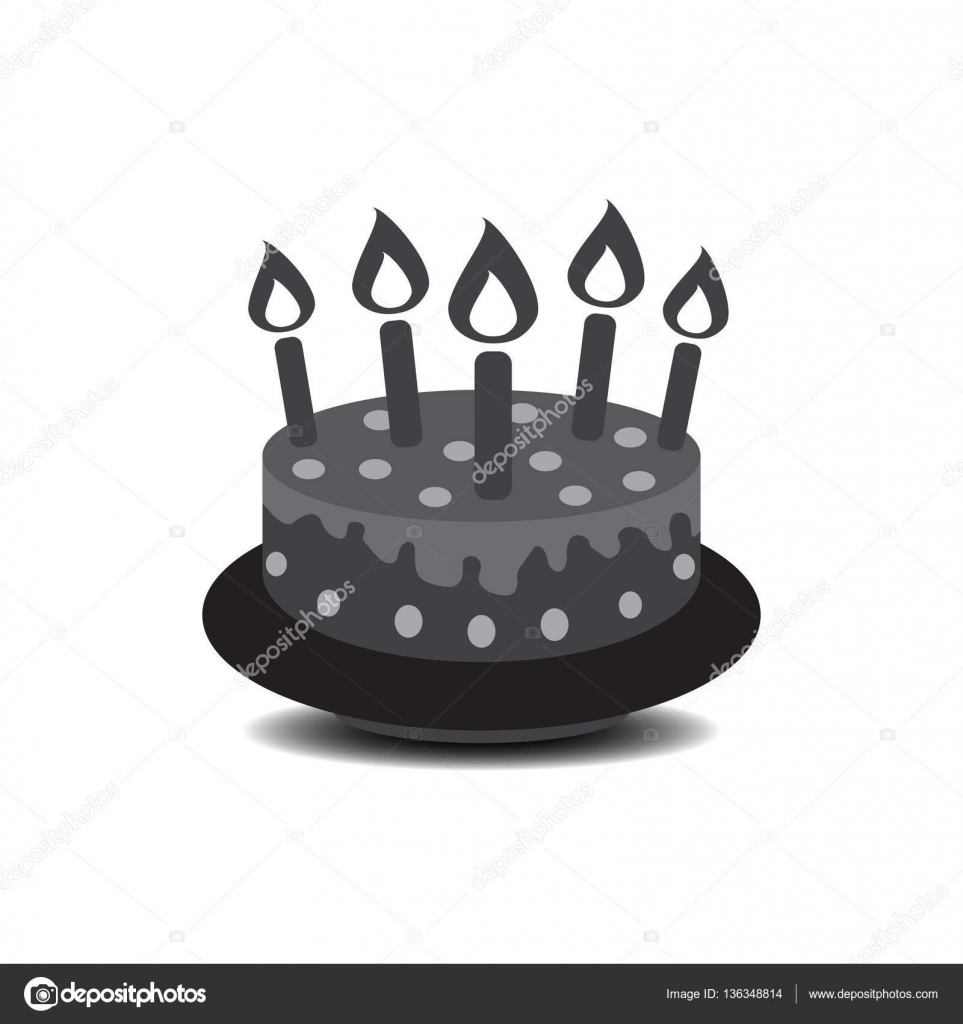 Trendy Modern Vector Symbol For Web Site Design Or Mobile App Stock Illustration Birthday Cake With Burning Candles