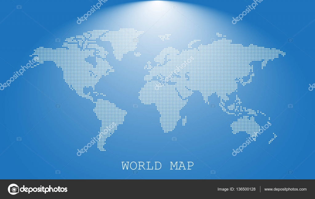 Dotted blank white world map isolated on blue background world map dotted blank white world map isolated on blue background world map vector template for website infographics design flat earth world map with round dots gumiabroncs Images
