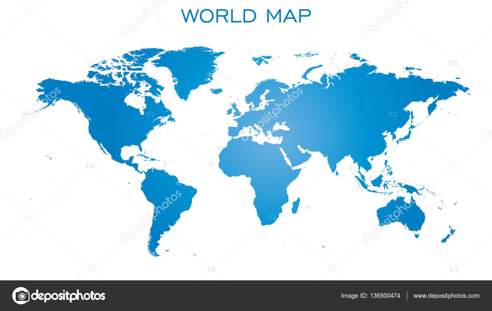 Flat World Map Vector.Blank Blue World Map Isolated On White Background World Map Vector
