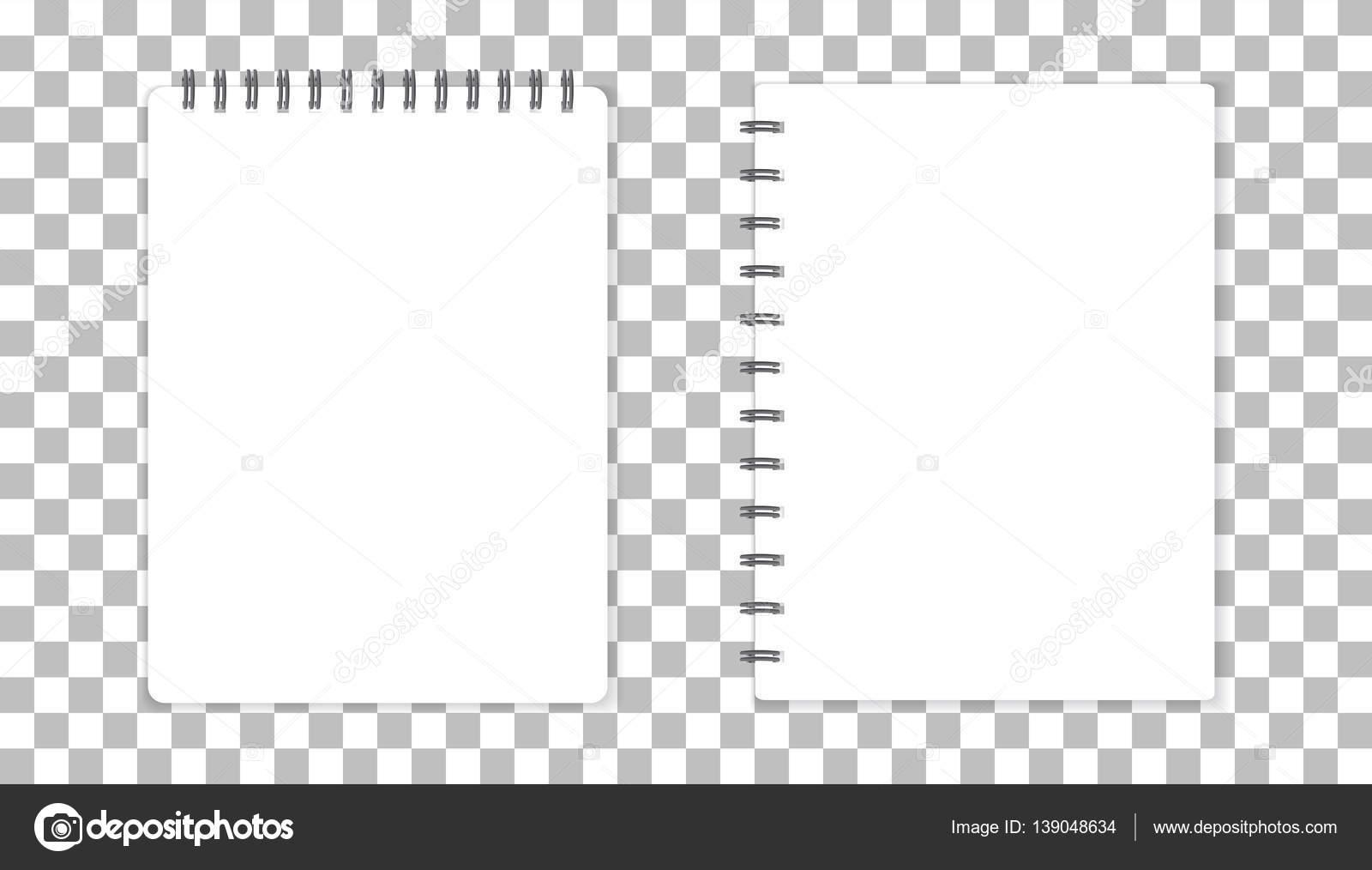 Bloc de notas con espiral de plantilla realista. Diseño de tapa ...