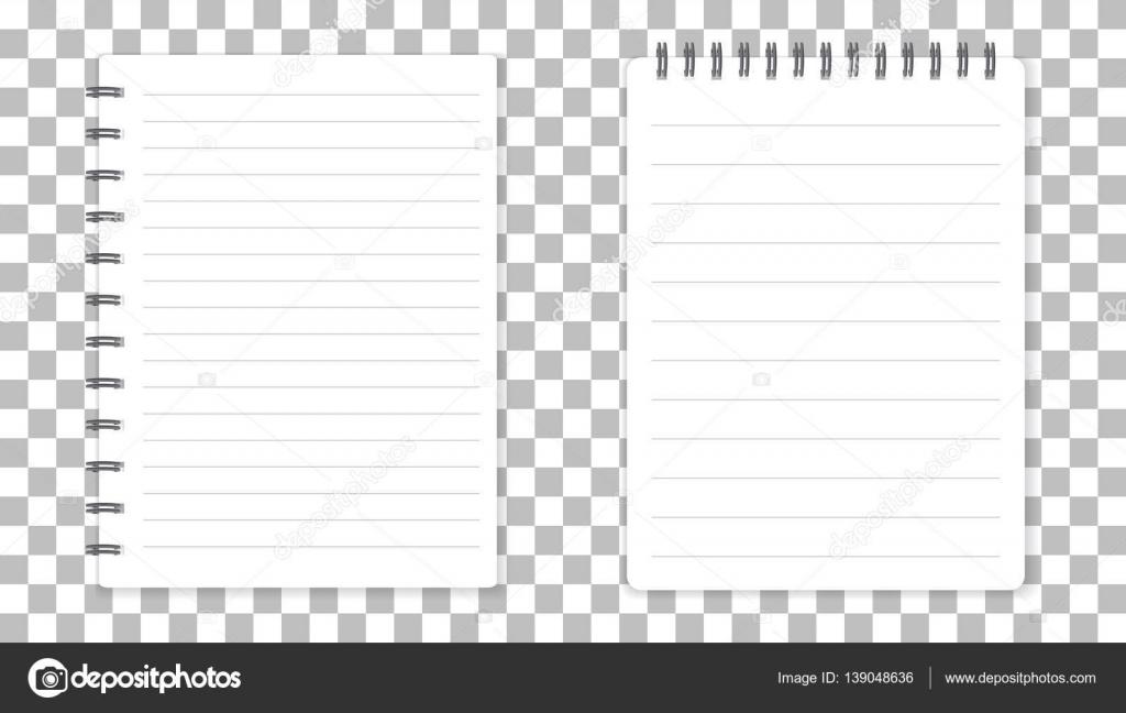 Realistische Vorlage Notizblock mit Spirale. Leere Cover-Design ...