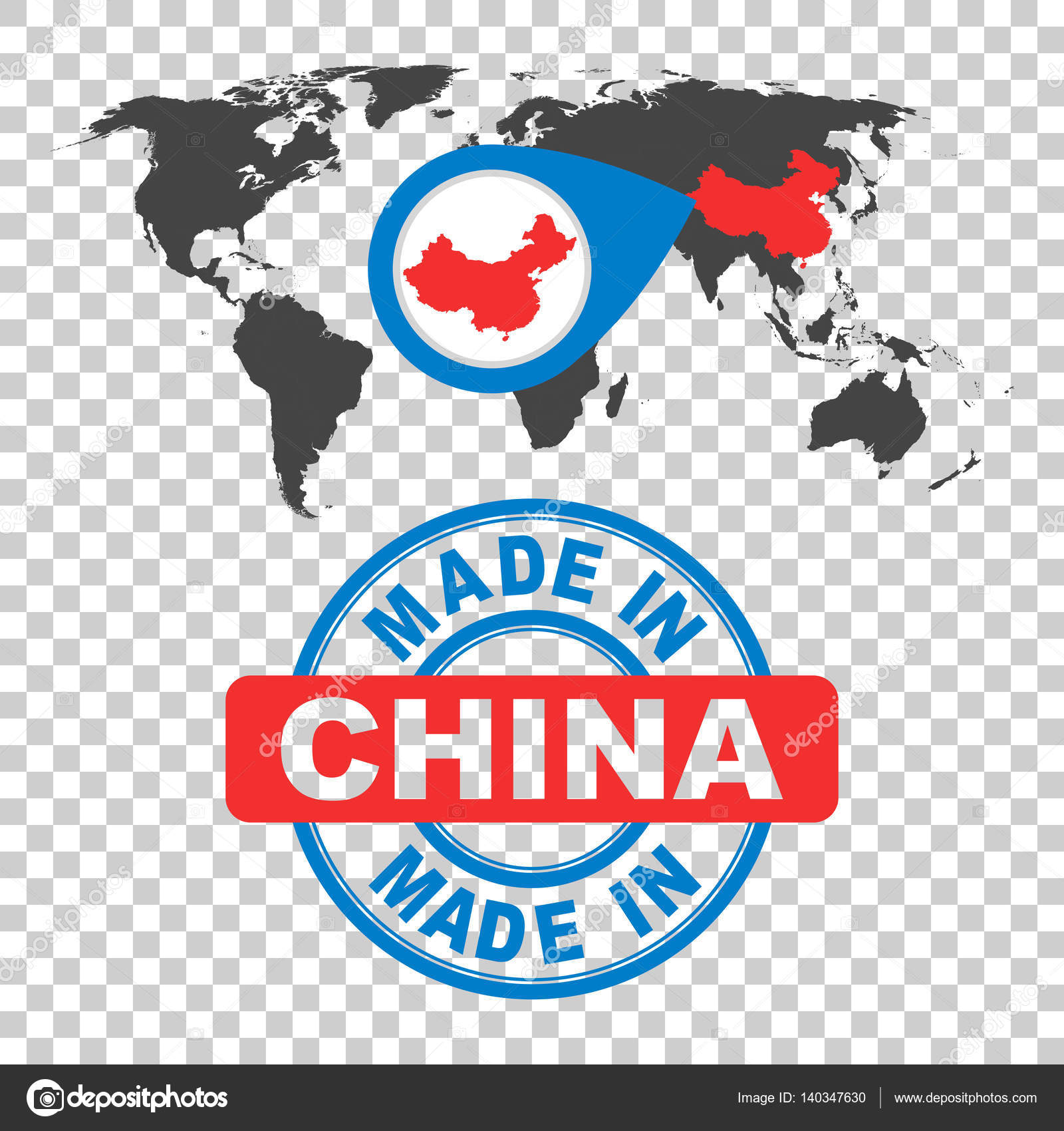 Made in china stamp world map with red country vector emblem in made in china stamp world map with red country vector emblem in flat style gumiabroncs Choice Image