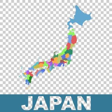 Japan administrative map. Vector flat