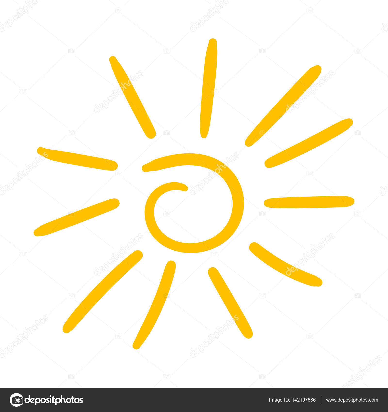 Hand drawn sun icon  Vector illustration isolated on white