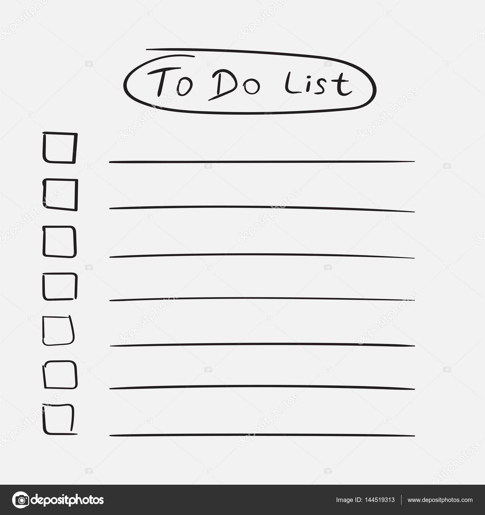 to do liste symbol mit text von hand gezeichnet checkliste task liste vektor illustration im. Black Bedroom Furniture Sets. Home Design Ideas