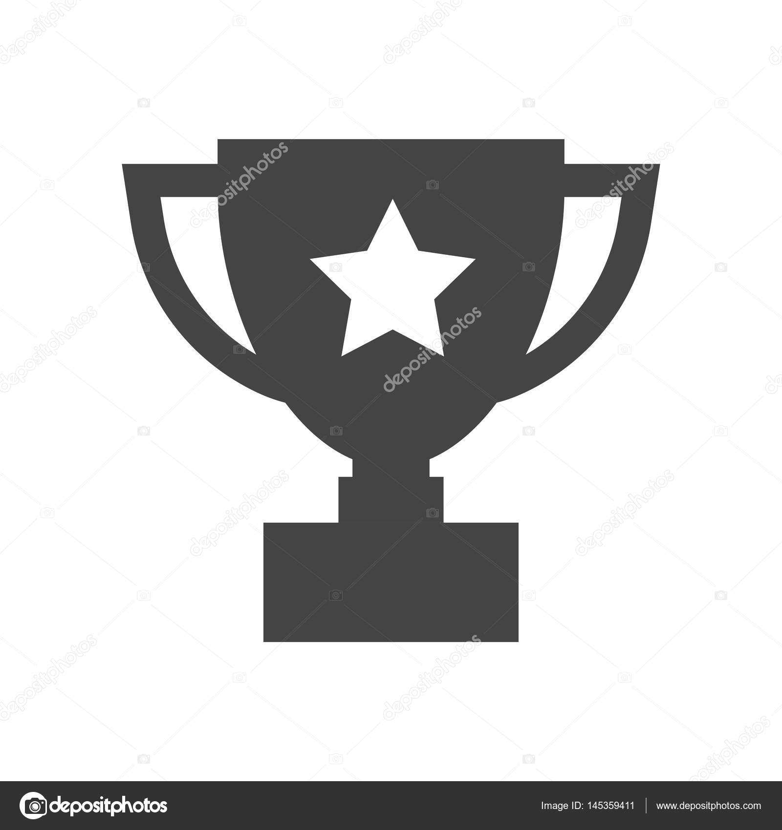 Trophy Cup Flat Vector Icon Simple Winner Symbol Black Illustration Isolated On White Background