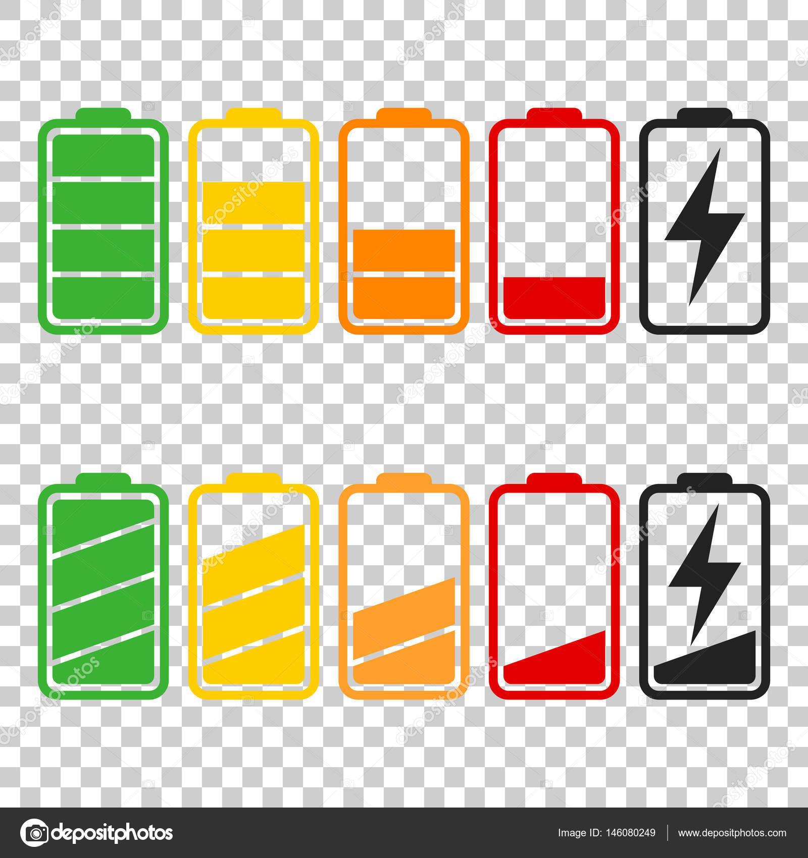 Batterie-Symbol Vektor auf isolierte Hintergrund gesetzt. Symbole ...