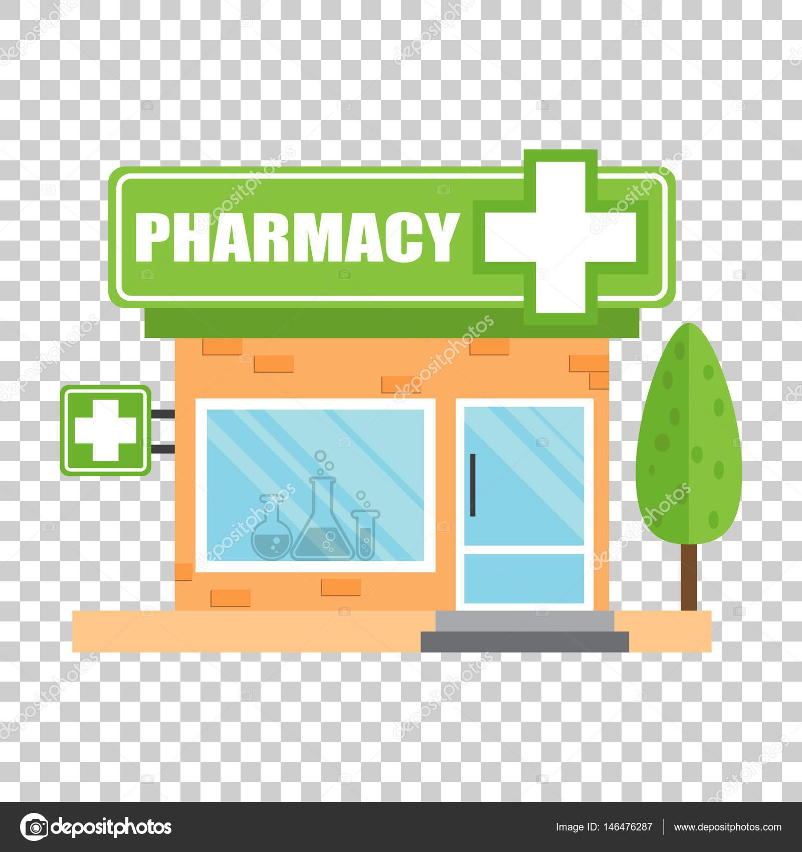 薬局ドラッグ ストア ショップ孤立した背景に薬局のベクトル図を格納し