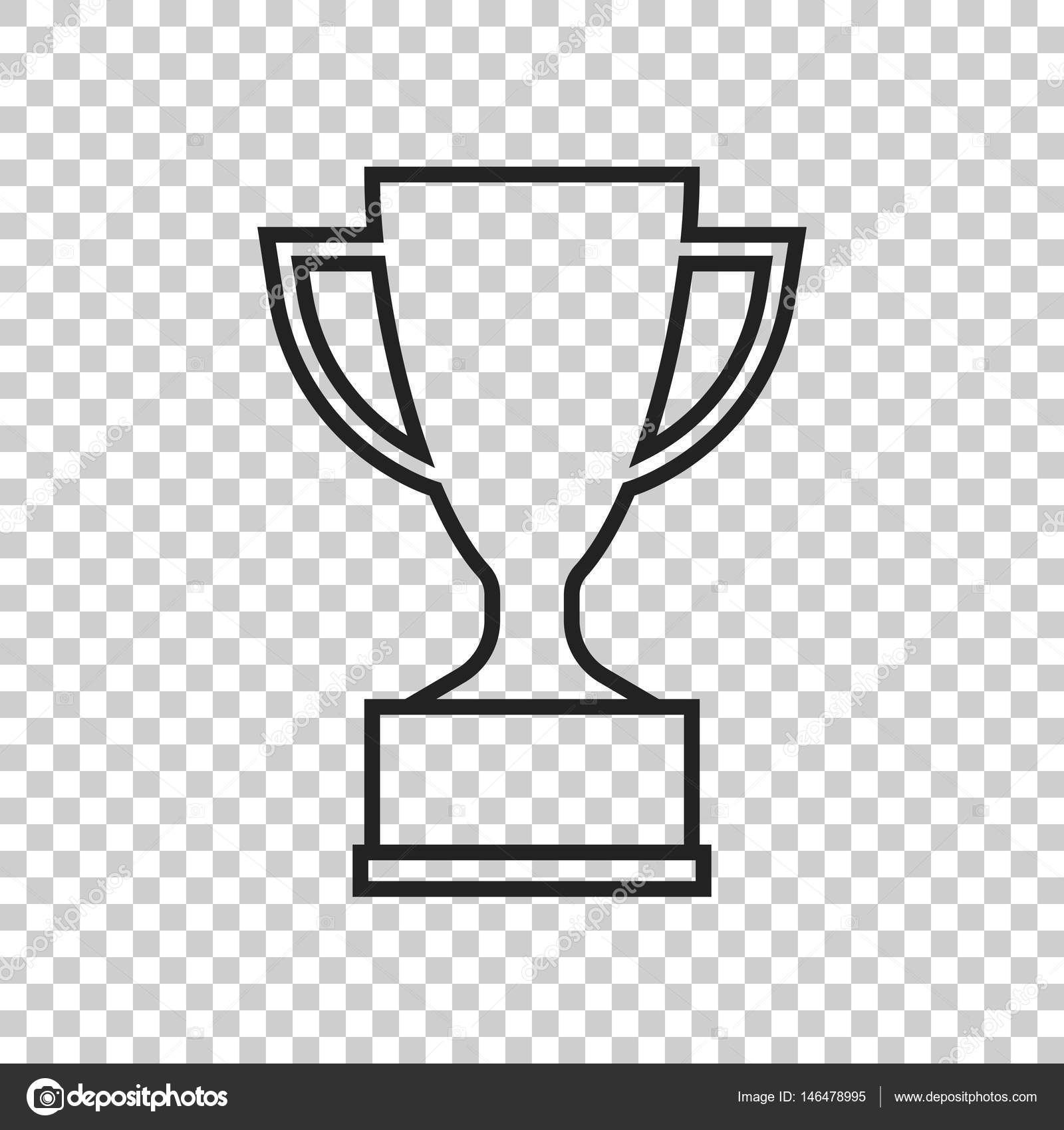 Trophy Cup Flat Vector Icon In Line Style Simple Winner Symbol