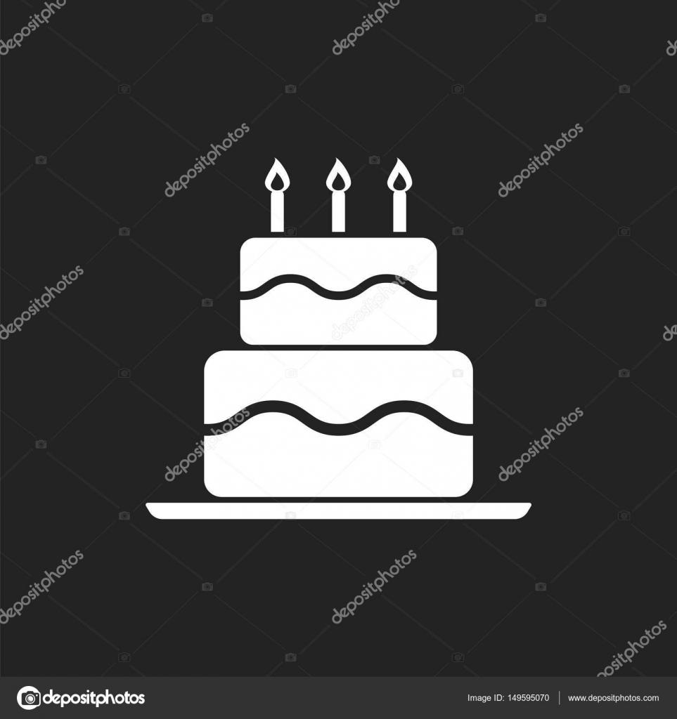 Birthday cake flat icon Fresh pie muffin on black background