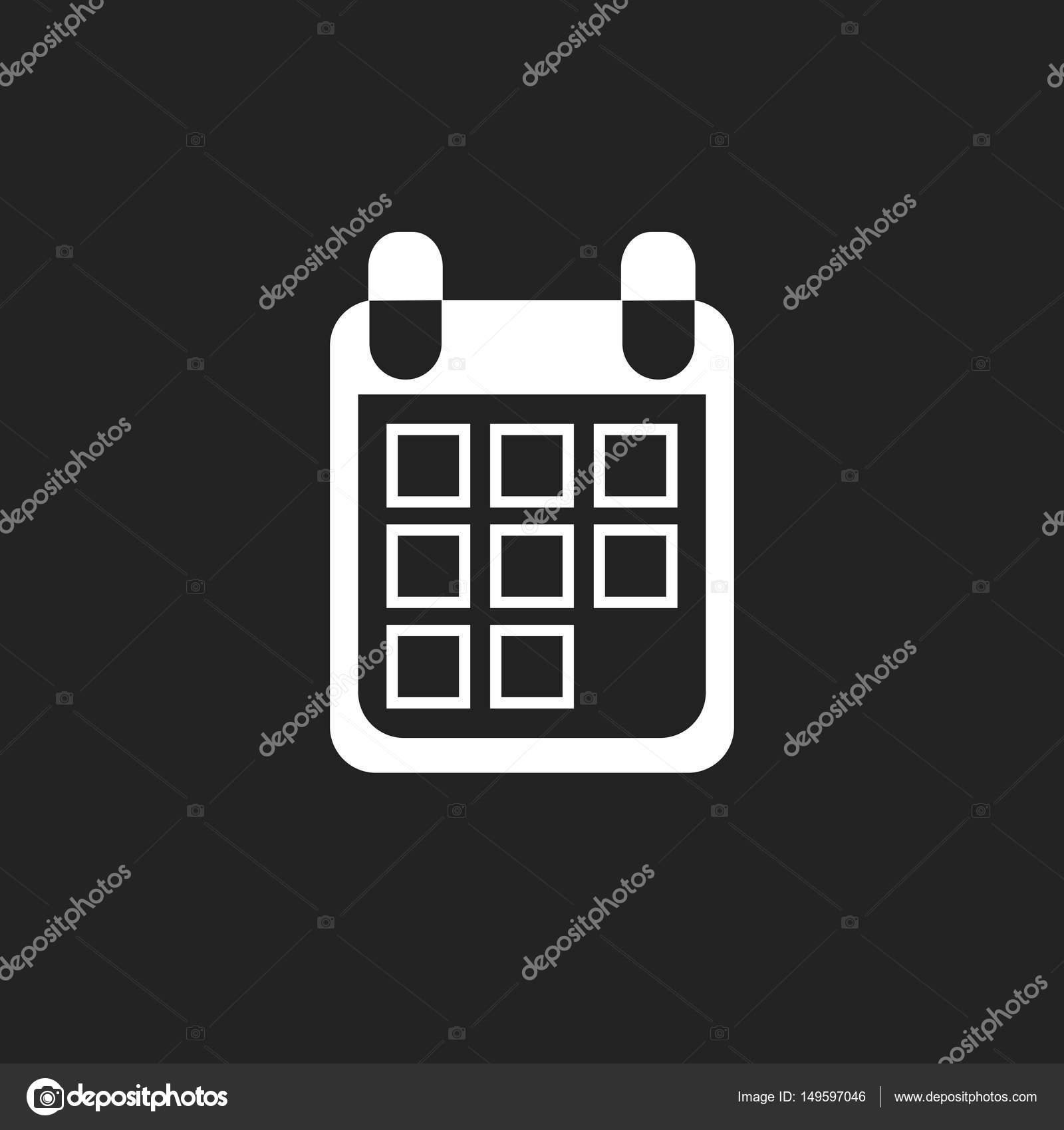 naptár honlapra Naptár ikonra a fekete háttér, vektor illusztráció. Lapos stílusú  naptár honlapra