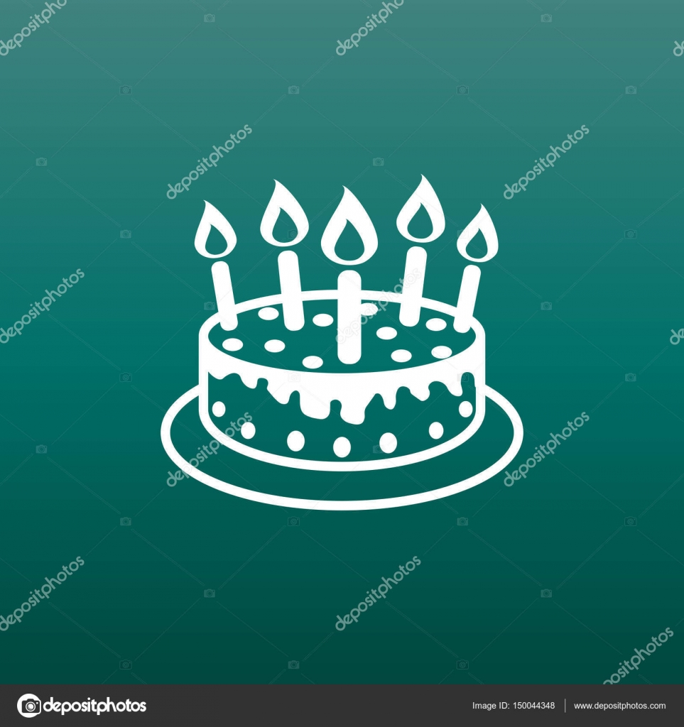 Cake With Candle Icon Simple Flat Pictogram For Business Marketing Internet Concept On