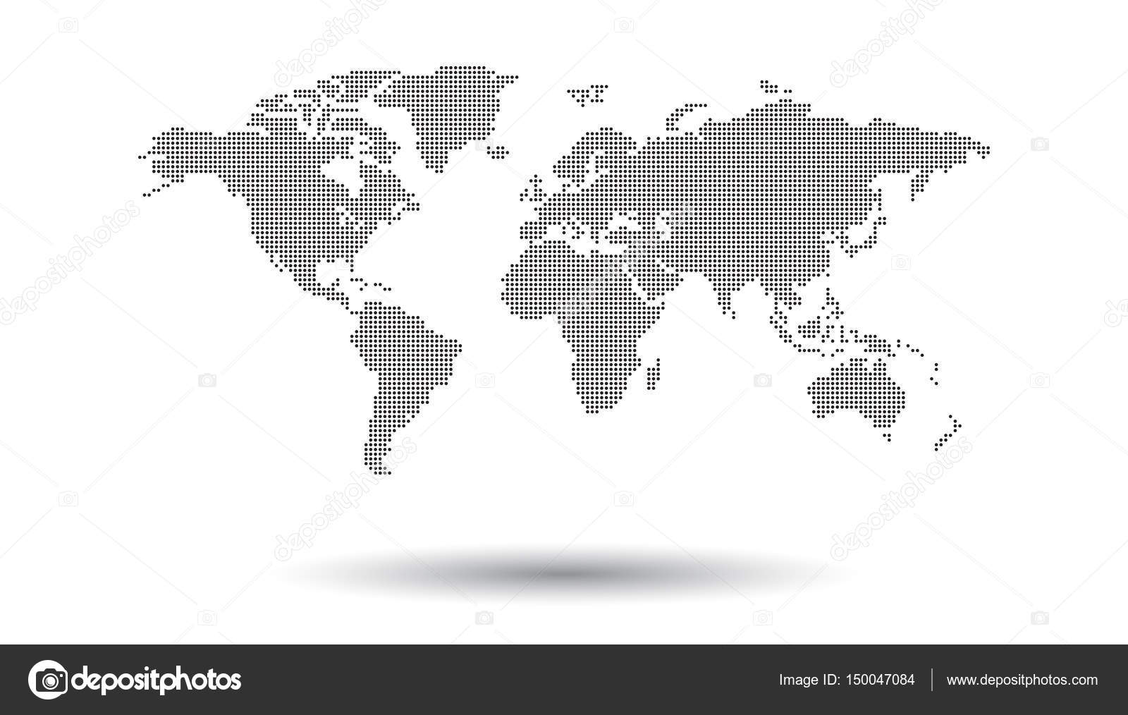 Dotted black world map on white background world map vector dotted black world map on white background world map vector template for website infographics gumiabroncs Images