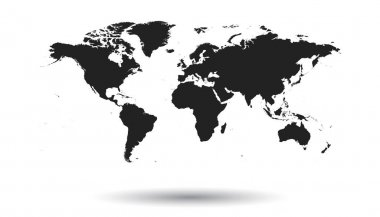 Blank black political world map isolated on white background. Worldmap Vector template for website, infographics, design. Flat earth world map illustration.