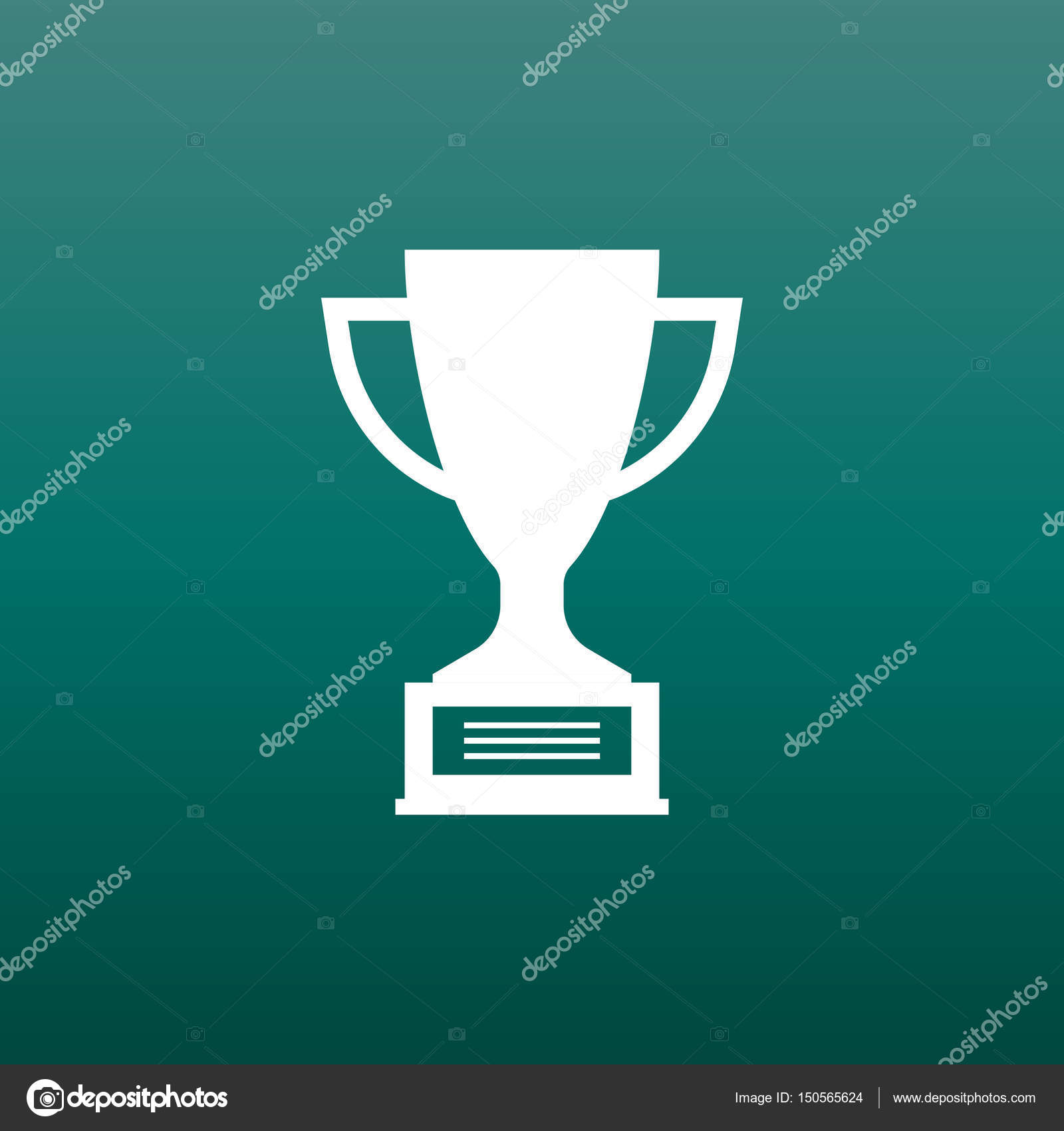 Trophy Cup Flat Vector Icon Simple Winner Symbol White Illustration On Green Background