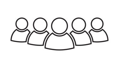 Group of people vector icon in line style. Persons icon illustration.