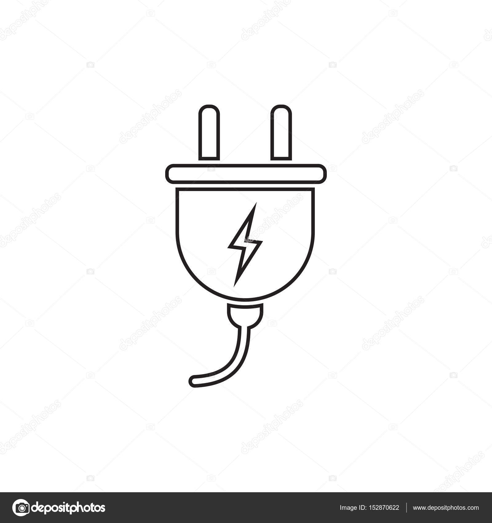 Power wire cable flat illustration. — Stock Vector