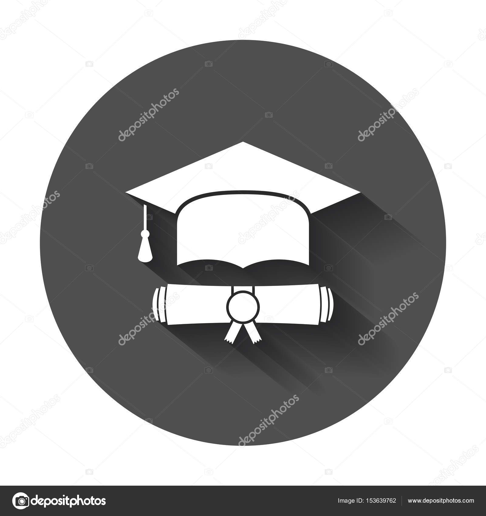 Graduation cap and diploma scroll icon vector illustration in flat ...