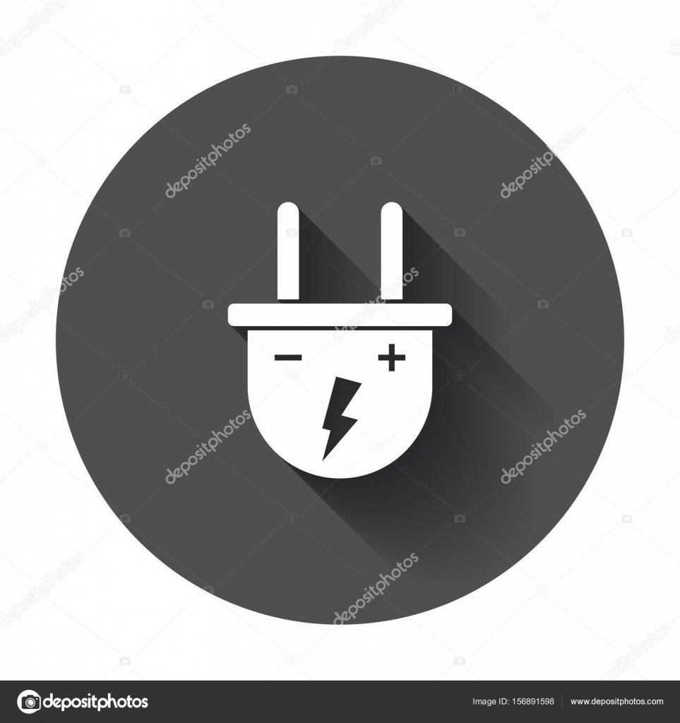 Plug vector icon. Power wire cable flat illustration with long s ...