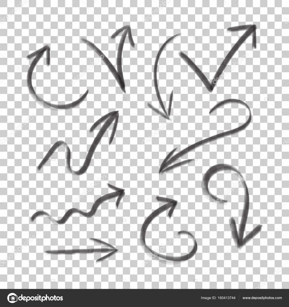 Hand gezeichneten Pfeil setzen Symbol. Sammlung von Bleistift-Skizze ...