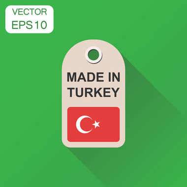 Hang tag made in Turkey with flag icon. Business concept manufac