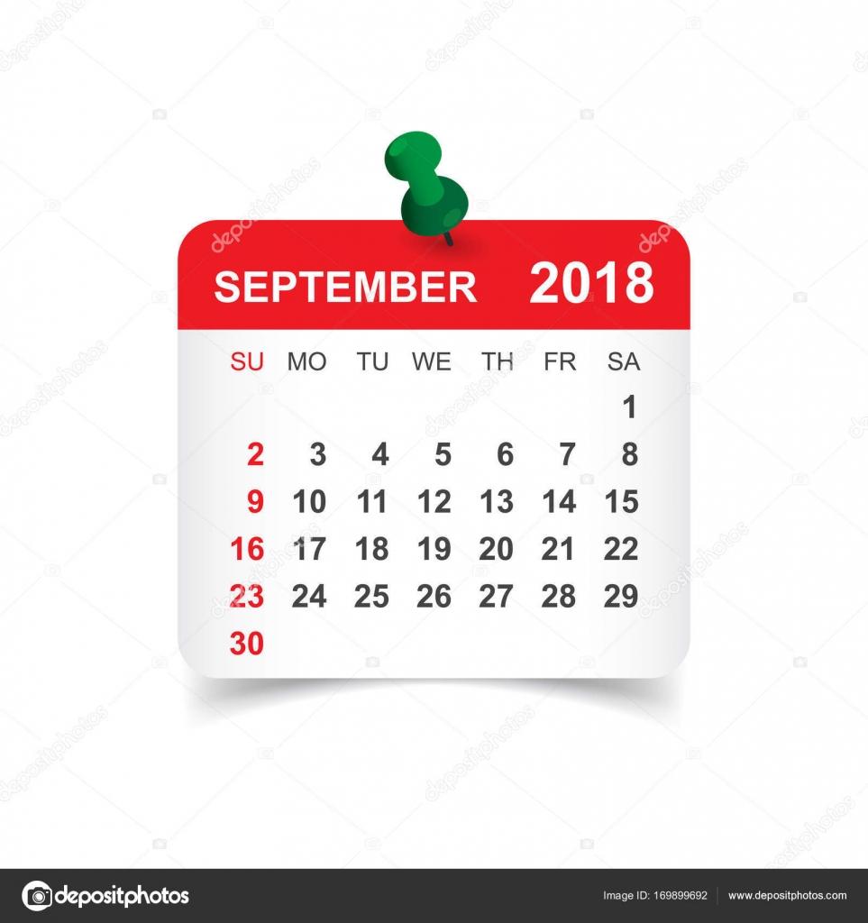 Kalender September 2018. Kalender-Aufkleber-Design-Vorlage. Woche ...