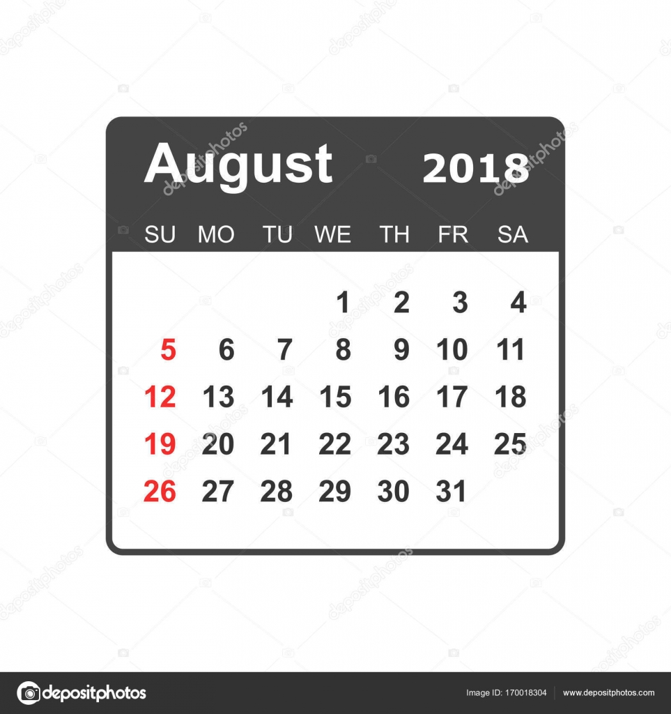 august 2018 calendar calendar planner design template week sta stock vector