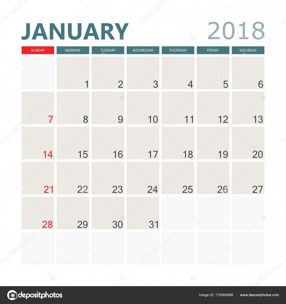 Calendario Gennaio.Calendario Gennaio 2018 Modello Di Disegno Di Calendario