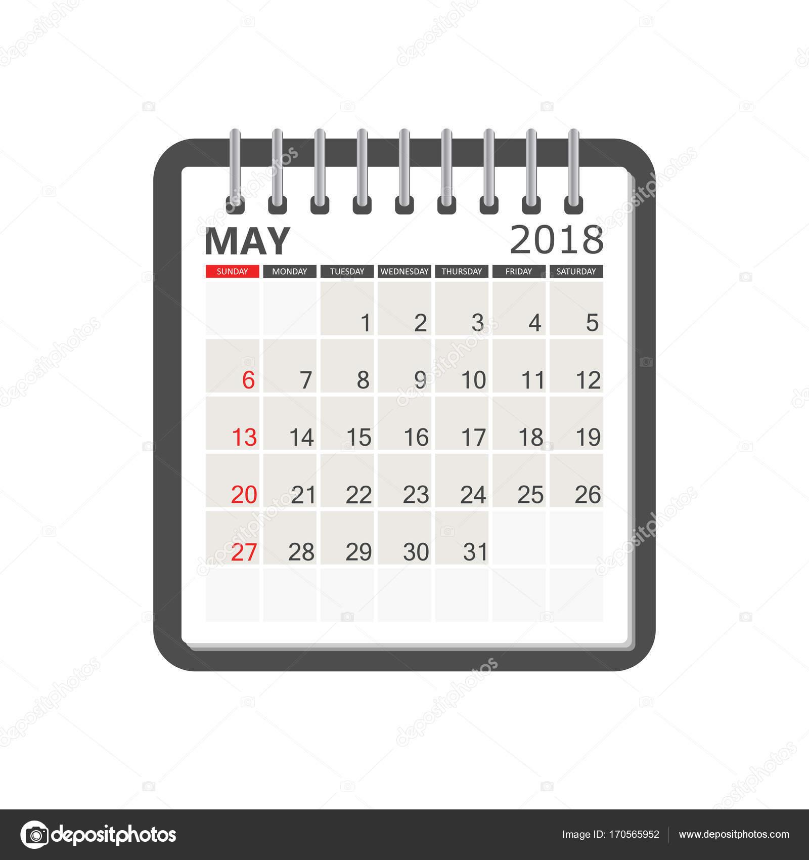 may 2018 calendar page