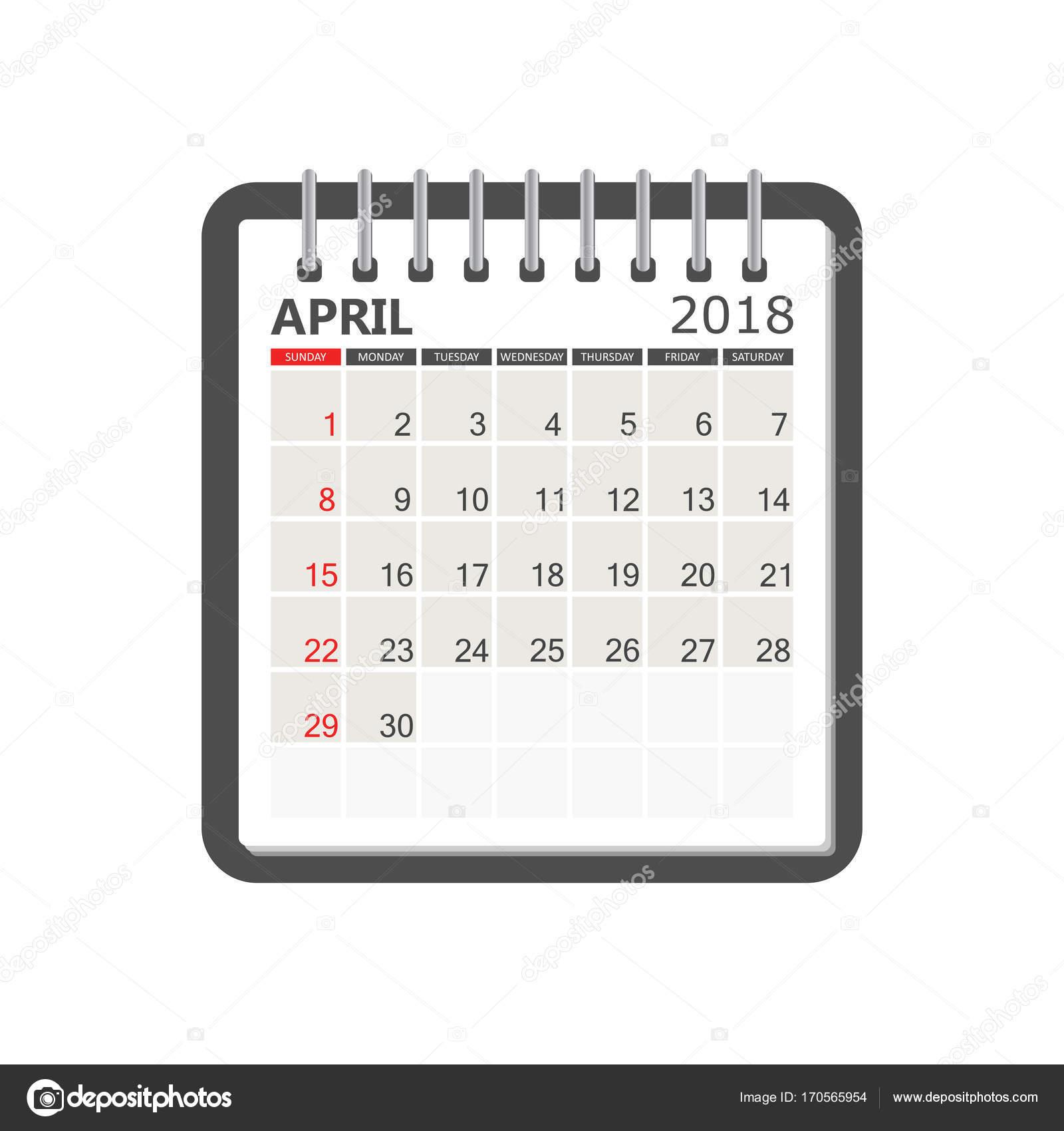 Kalender April 2018. Kalendervorlage Notebook Seite. Wochenstart ...