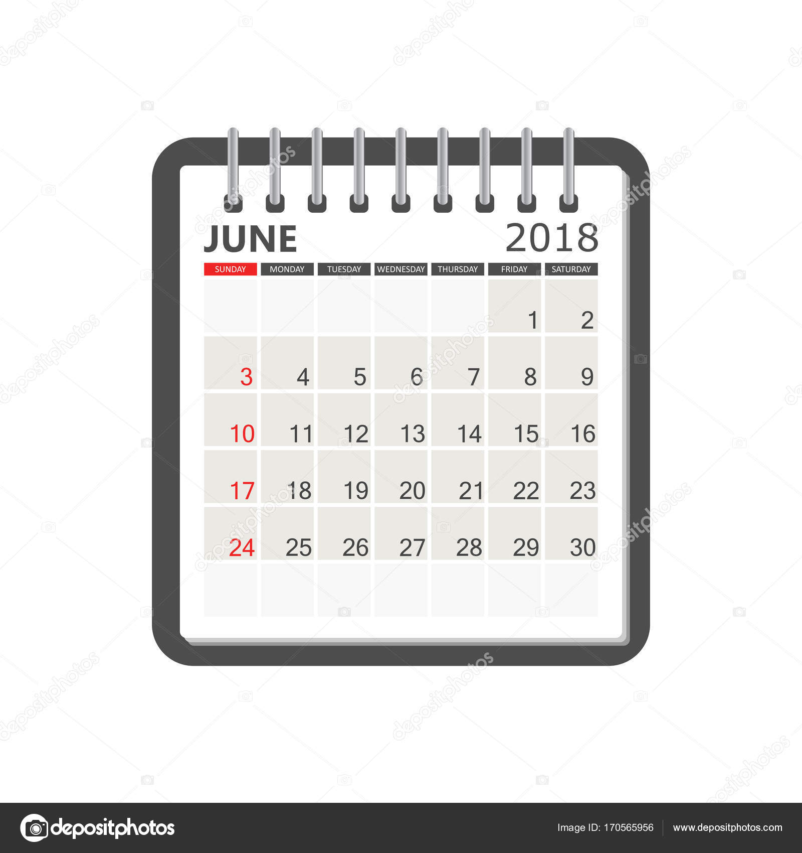 june 2018 calendar calendar notebook page template week starts stock vector