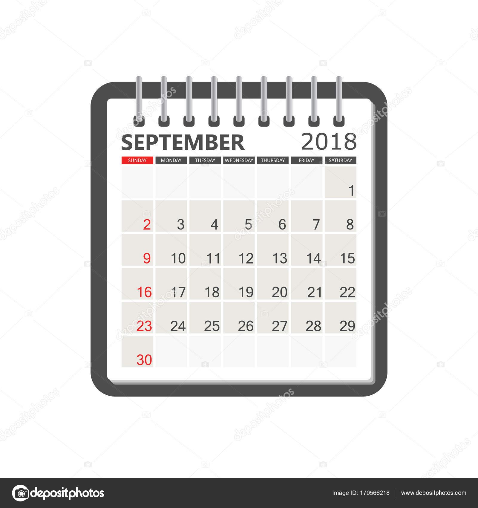 Kalender September 2018. Kalendervorlage Notebook Seite. Woche-s ...