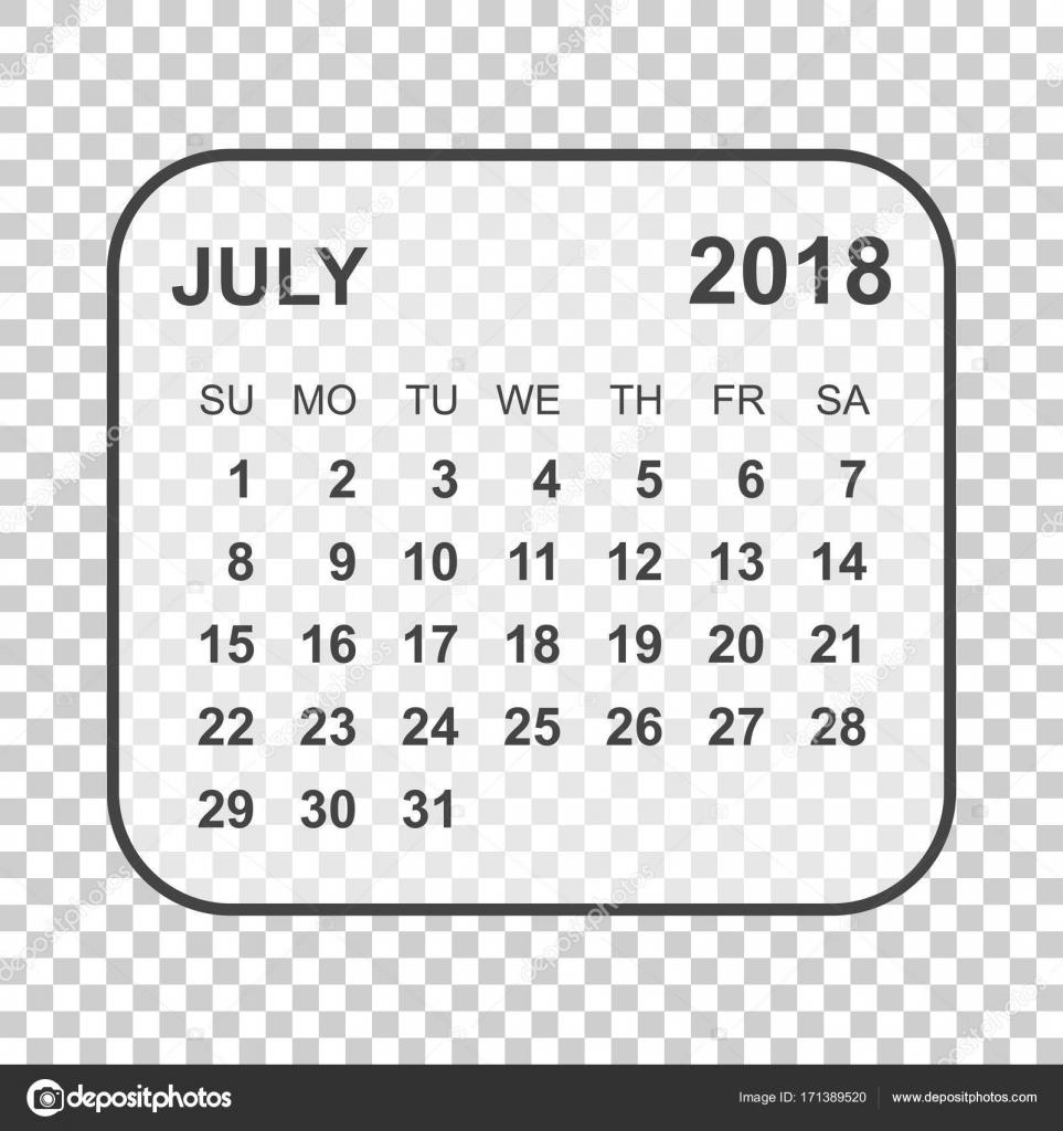2018年 7 月カレンダーです カレンダー プランナーのデザイン