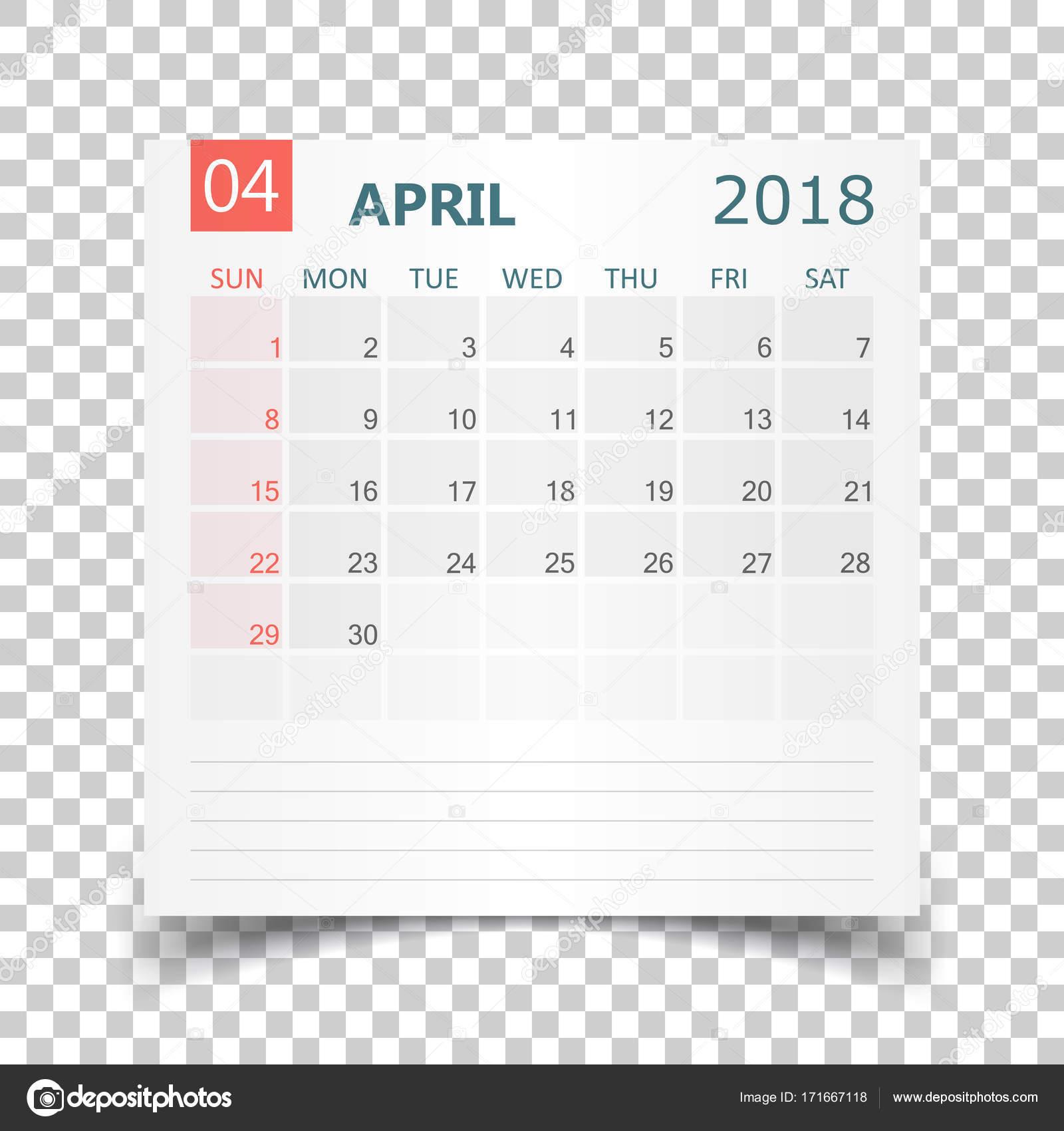 Kalender April 2018. Kalender-Aufkleber-Design-Vorlage. Woche Sterne ...