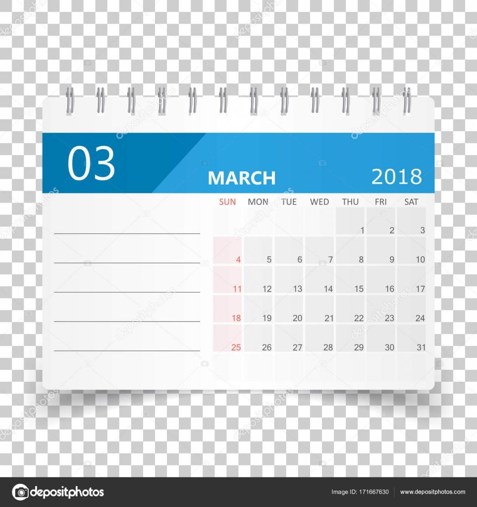 march 2018 calendar calendar planner design template week star stock vector