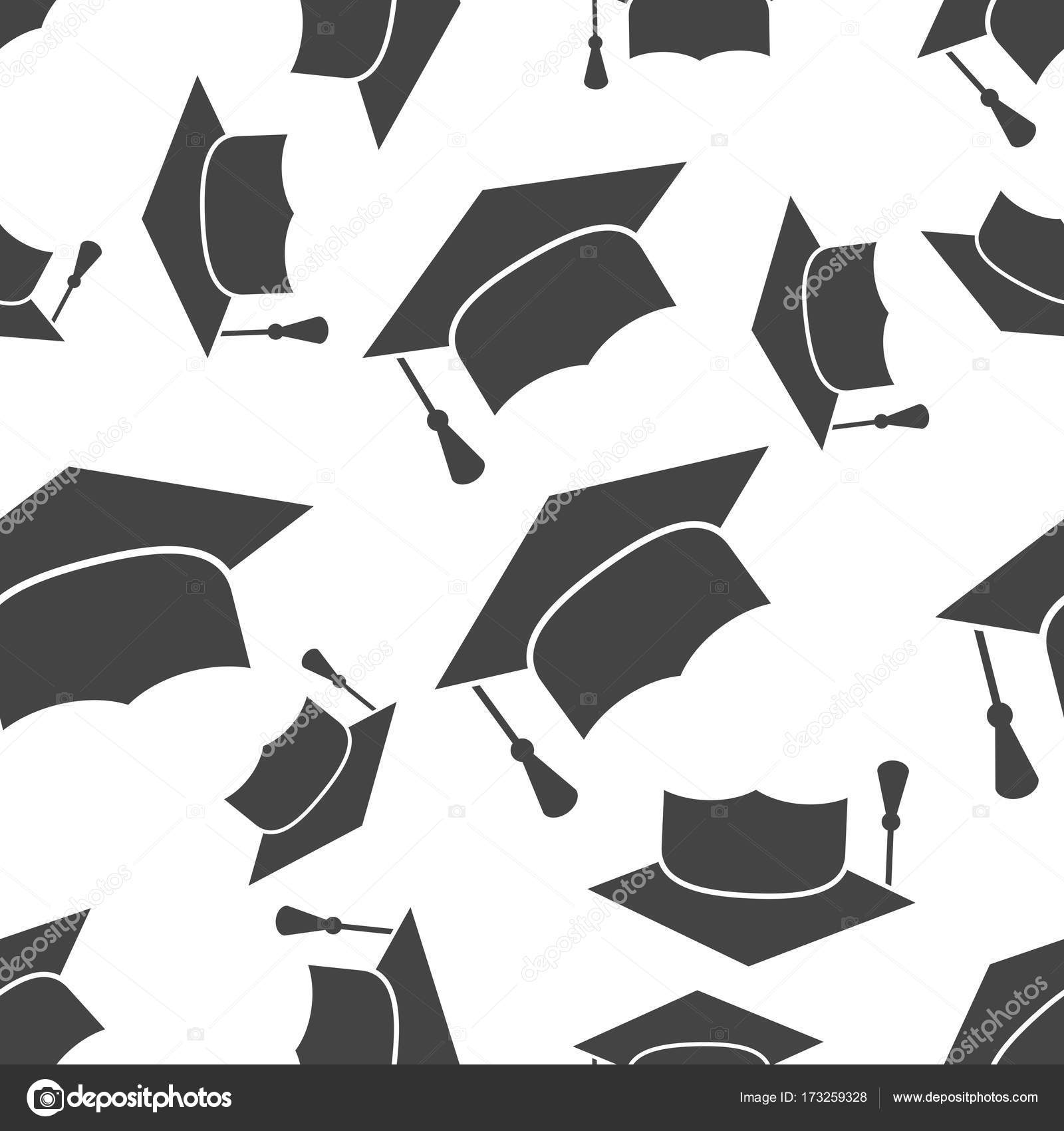 Graduation cap seamless pattern background icon. Business flat v ...
