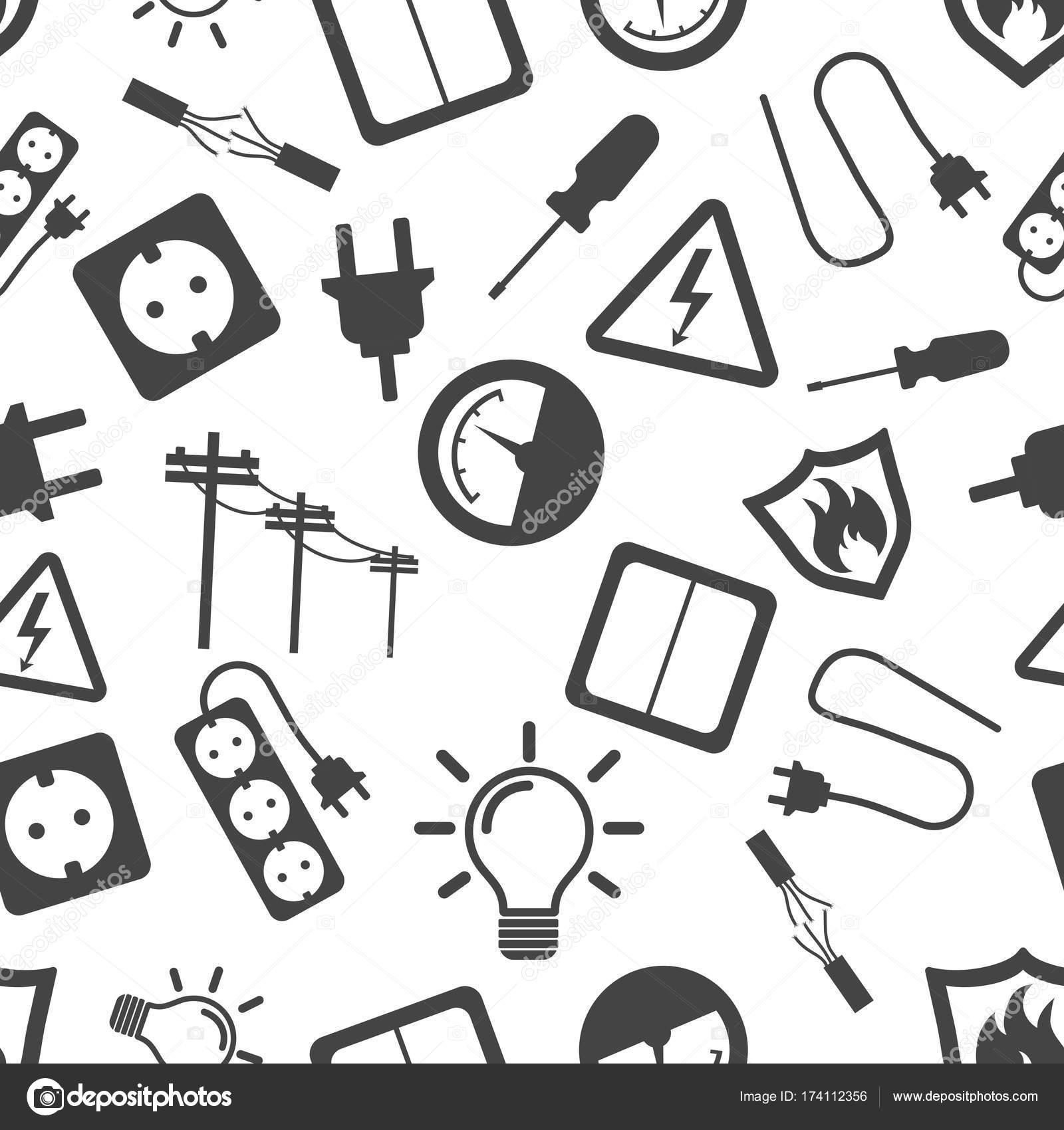 Icono de fondo de patrones sin fisuras de electricidad. Empresa ...