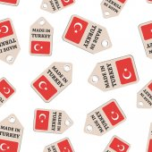 Hang tag made in Turkey sticker with flag seamless pattern backg