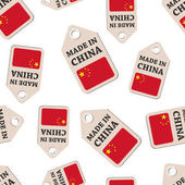 Hang tag made in China sticker with flag seamless pattern backgr