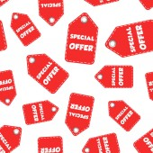 Special offer hang tag seamless pattern background. Business fla