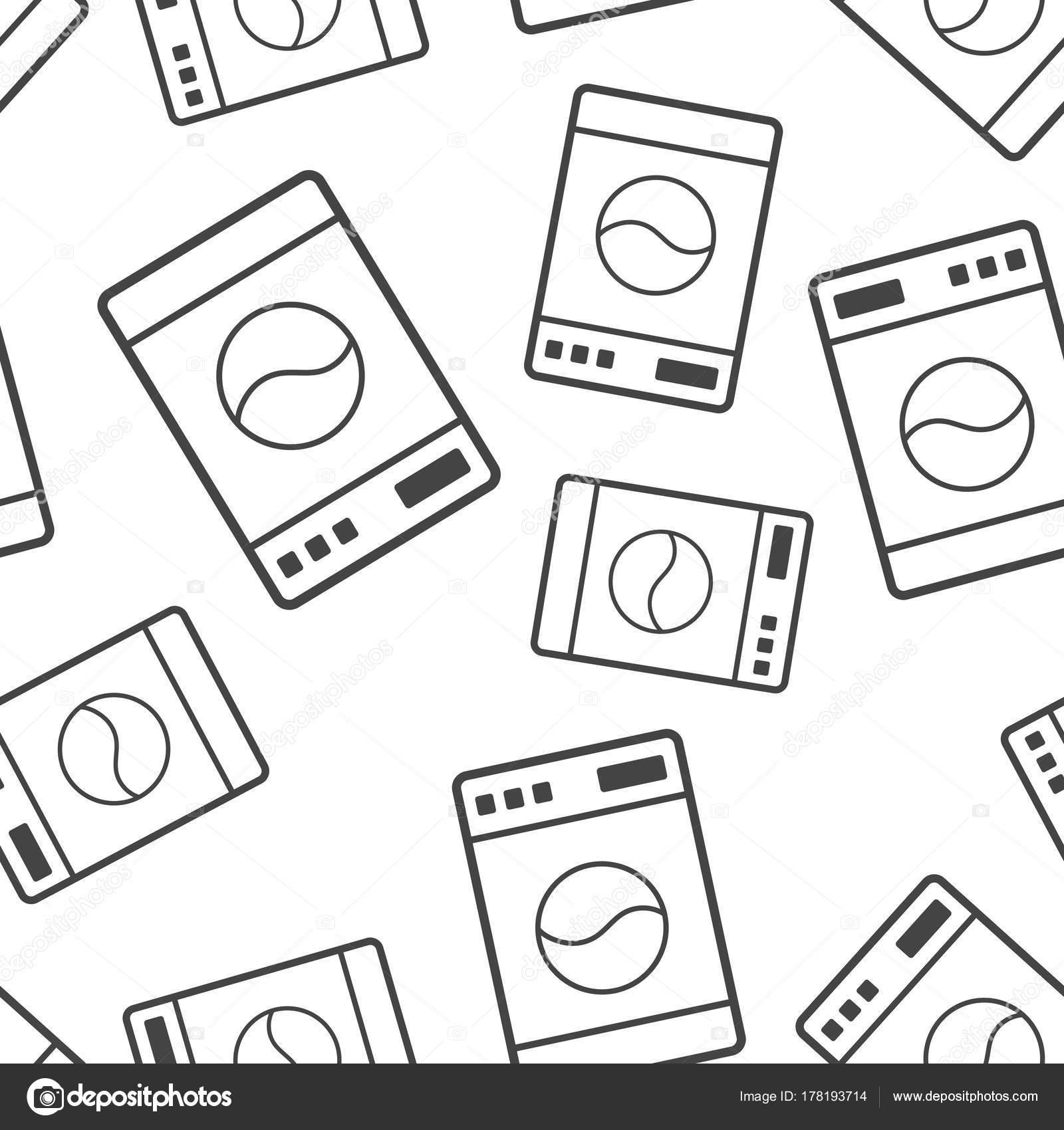 Waschmaschine Zeichen Musterdesign Hintergrund Business Flat Vektor