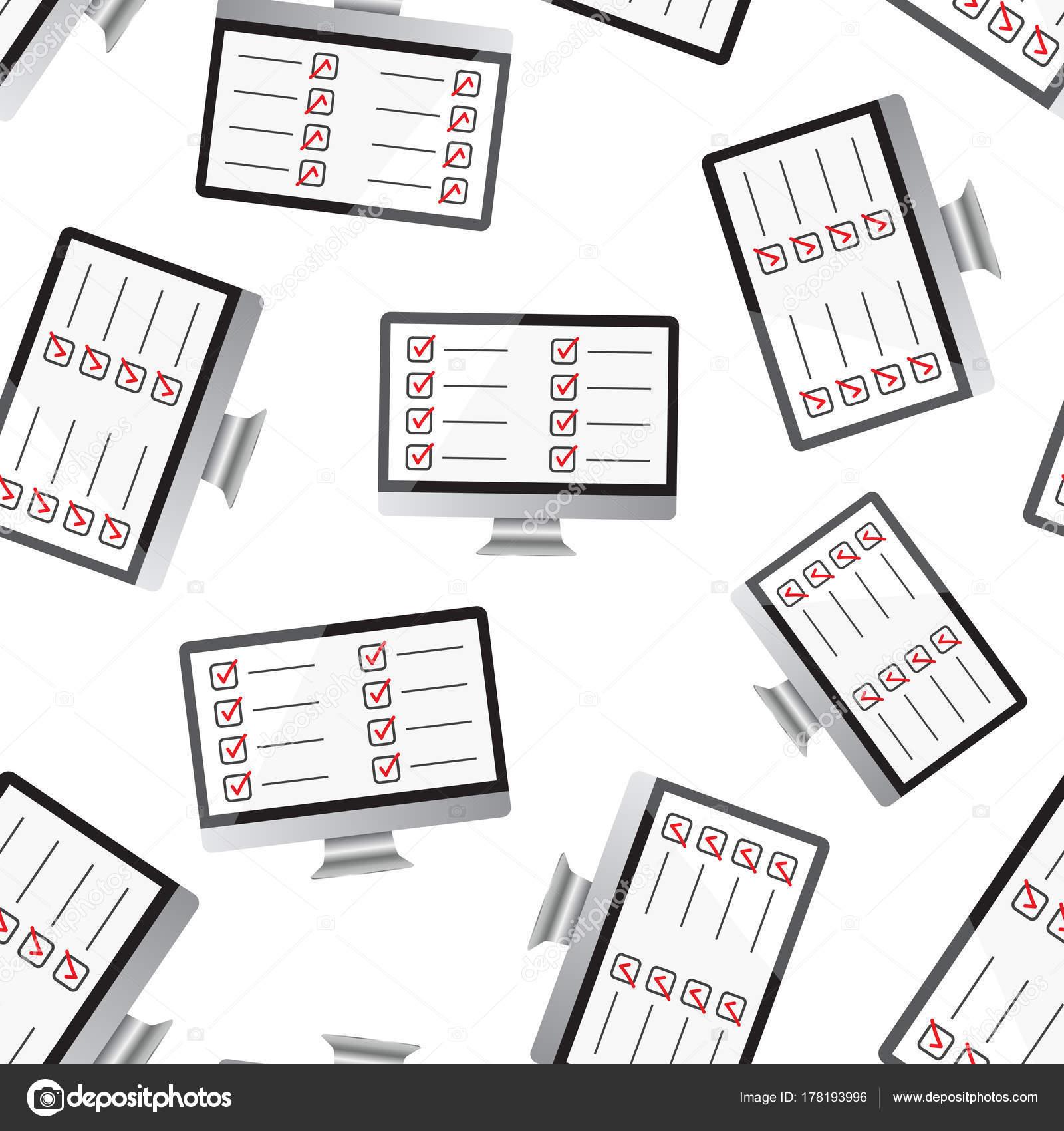 Geschäftsmann Checkliste mit Computer-Monitor nahtlose Muster bac ...