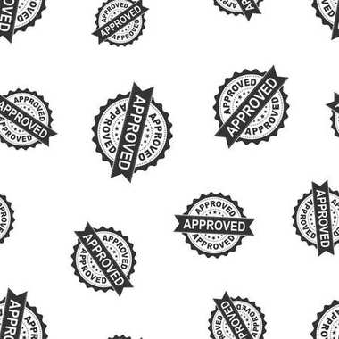 Approved seal stamp seamless pattern background. Business concep