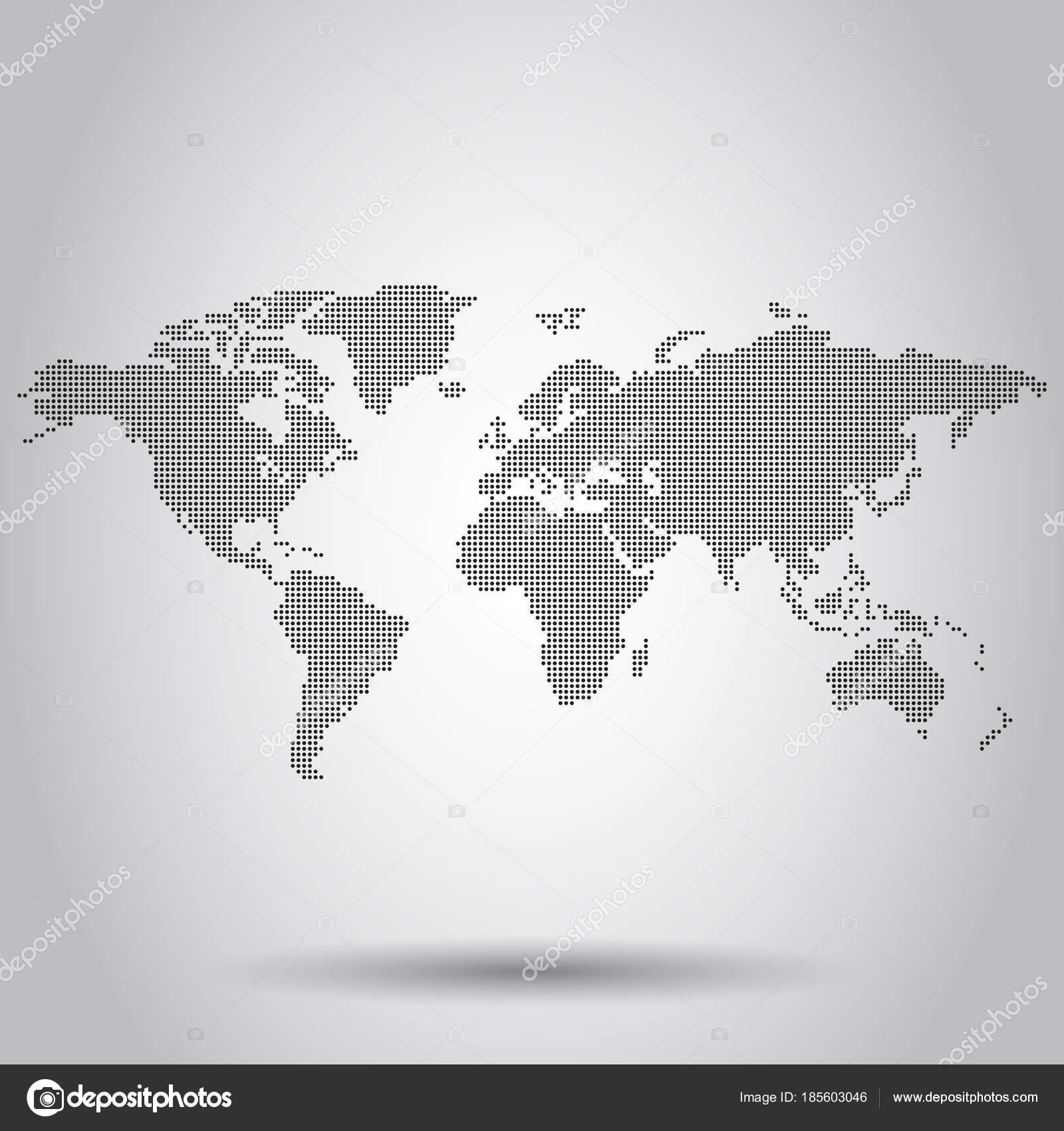 Gepunktete leere Welt Kartensymbol. Business Konzept Welt Karte ...